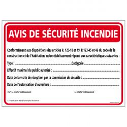 Avis de securite incendie (A0556)