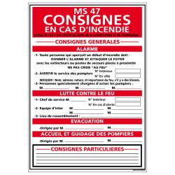 Panneau CONSIGNES EN CAS D'INCENDIE (A0572)