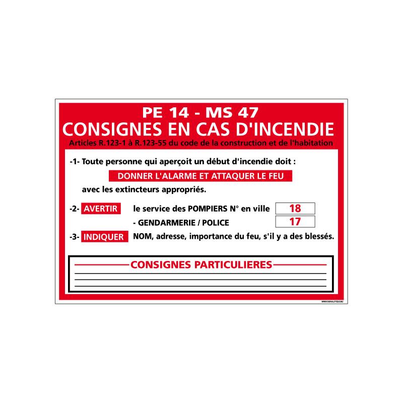 Panneau CONSIGNES EN CAS D'INCENDIE (A0574)
