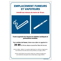Panneau EMPLACEMENT FUMEURS ET VAPOTEURS (N0181)