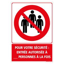 PANNEAU PREVENTIF CORONAVIRUS - NOMBRES DE PERSONNES AUTORISE A ENTREE LIMITE POUR VOUS SECURITE - PERSONNALISABLE (D1351-PERSO)