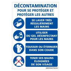 PANNEAU DECONTAMINATION EN TEMPS DE COVID-19 - LES GESTES BARRIERES POUR VOUS PROTEGER ET PROTEGER LES AUTRES (E0718)