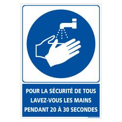 PANNEAU LAVAGE DES MAINS OBLIGATOIRE PENDANT 20 A 30 SECONDES POUR LA SECURITE DE TOUS PENDANT LA CRISE SANITAIRE (E0719)
