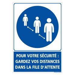 PANNEAU DE SECURITE SPECIAL COVID-19 - GARDEZ VOS DISTANCES DE SECURITE DANS LA FILE D'ATTENTE (E0721)
