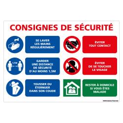 PANNEAU PREVENTIF CORONAVIRUS - CONSIGNES SECURITE PENDANT L'EPIDEMIE (E0723)