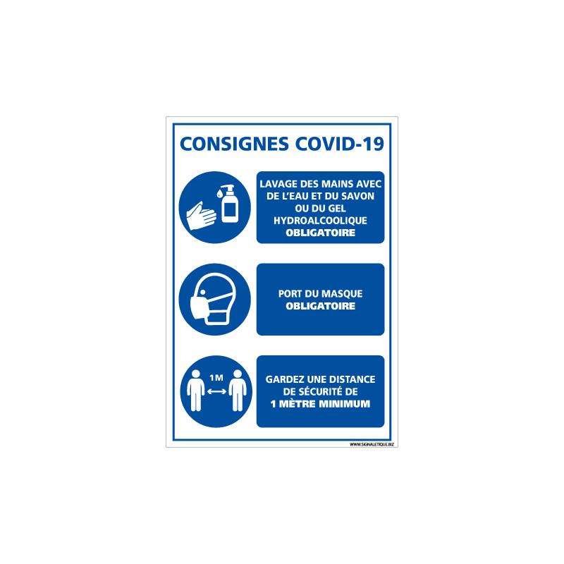 PANNEAU COVID 19 - LES 3 PRINCIPAUX GESTES BARRIERES POUR LIMITER LA PROPAGATION DU CORONAVIRUS (E0745)