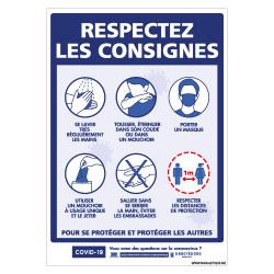 PANNEAU PREVENTIF CORONAVIRUS - RESPECTEZ LES CONSIGNES POUR VOUS PROTEGER ET PROTEGER LES AUTRES DU COVID19 (G1567)