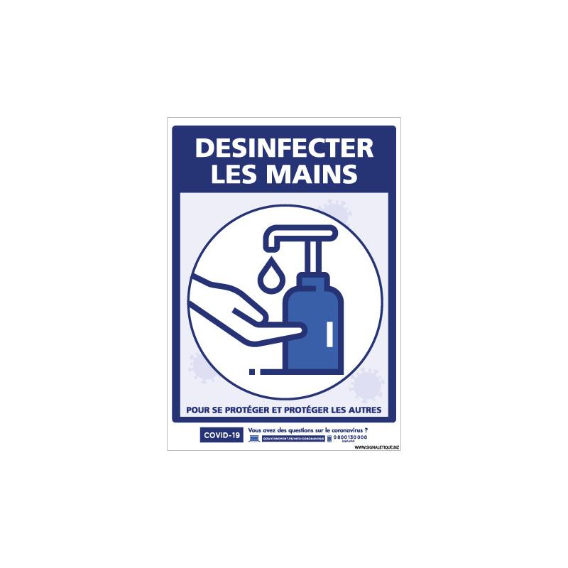 PANNEAU COVID19 - DESINFECTION LES MAINS POUR VOUS PROTEGER ET PROTEGER LES AUTRES (G1568)