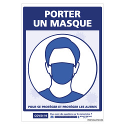 PANNEAU PREVENTION COVID19 - PORTER UN MASQUE (G1570)