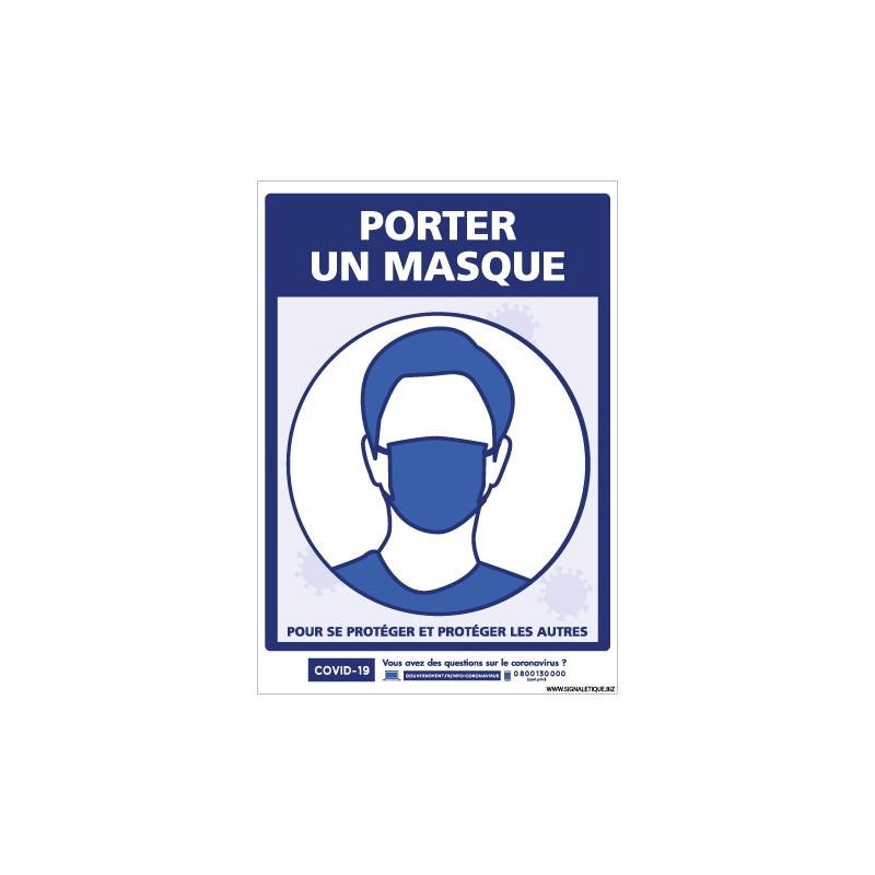 PANNEAU PREVENTION COVID19 - PORTER UN MASQUE (G1570)