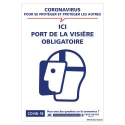 PANNEAU DE SIGNALISATION SPECIAL COVID19 - PORT DE LA VISIERE OBLIGATOIRE POUR LA LUTTE CONTRE LE CORONAVIRUS (G1583)