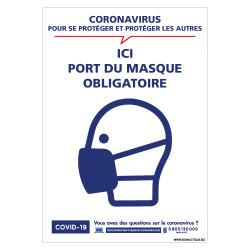 PANNEAU DE SIGNALISATION CORONAVIRUS - PORT DU MASQUE OBLIGATOIRE ICI PENDANT LE COVID19 (G1584)