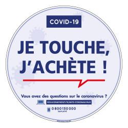 PANNEAU SIGNALETIQUE COMMERCE SPECIAL CORONAVIRUS - JE TOUCHE - J'ACHETE PENDANT LA PERIODE DE COVI19 (G1585)