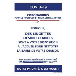 PANNEAU SIGNALETIQUE ENTREPRISE INFORMATIF CORONAVIRUS - MISE EN PLACE DE LINGETTES DESINFECTANTES A VOTRE DISPOSITION (G1588)