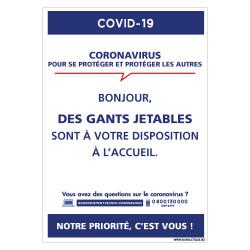 PANNEAU INFORMATIF CORONAVIRUS - GANTS A VOTRE DISPOSITION A L'ACCUEIL (G1589)