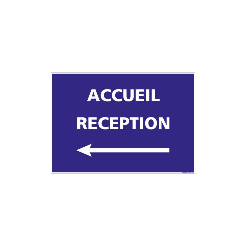 PANNEAU INFORMATIF COVID-19 - ACCUEIL RECEPTION FLECHE VERS LA GAUCHE (H0517_FG)