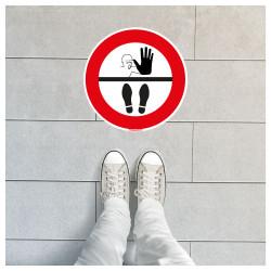 SIGNALISATION SOL COVID19 - SIGNALISATION AU SOL ADHESIF - STOP NE PAS FRANCHIR CETTE LIMITE - DISTANCES DE SECURITE (O0038)