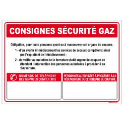 Panneau CONSIGNES SECURITE GAZ (A0619)