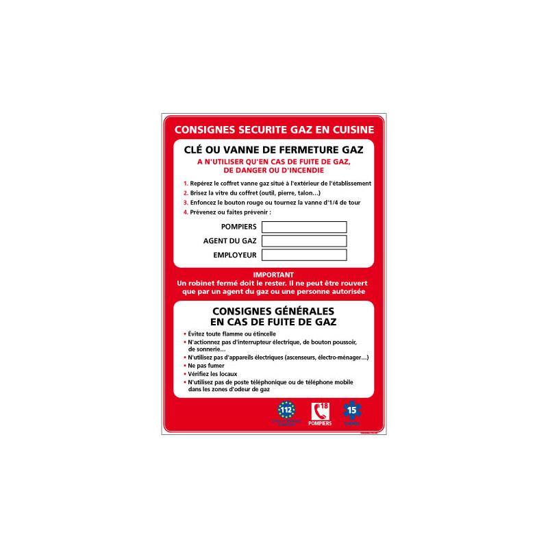 Panneau CONSIGNES SECURITE GAZ CUISINE (A0622)