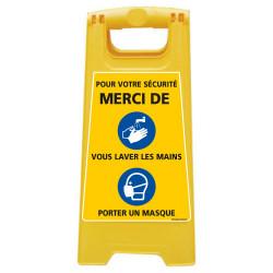 CHEVALET DE SIGNALISATION SPECIAL CORONAVIRUS - POUR VOTRE SECURITE MERCI DE VOUS LAVER LES MAINS ET DE PORTER UN MASQUE (WPSG70