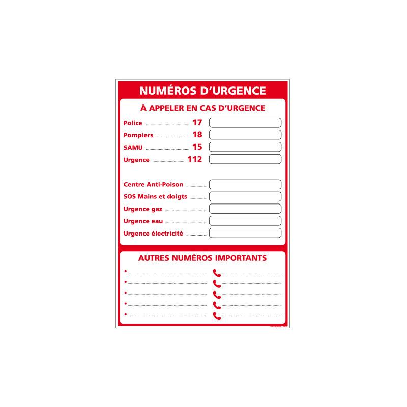PANNEAU AFFICHAGE NUMEROS D'URGENCE (A0631)