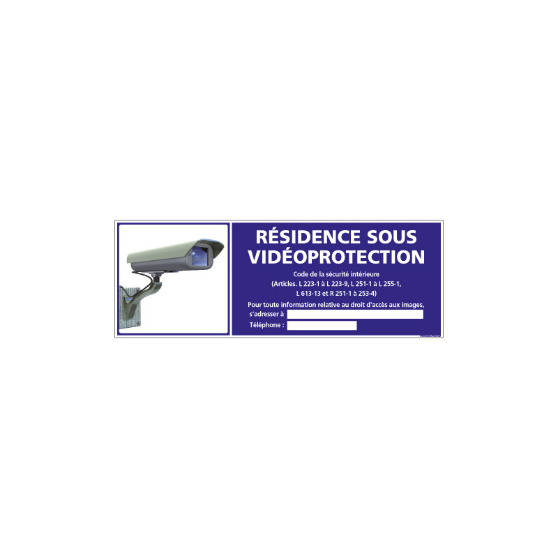 Panneau RESIDENCE SOUS VIDEO PROTECTION (G1190)