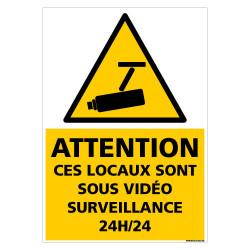 PANNEAU SOUS VIDEOSURVEILLANCE 24H/24 (G1429)