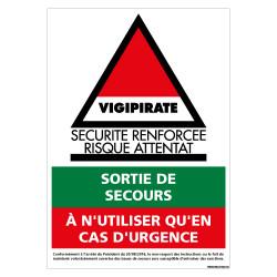 PANNEAU VIGIPIRATE SECURITE RENFORCEE RISQUE D'ATTENTAT (VIGIPIRATE12)