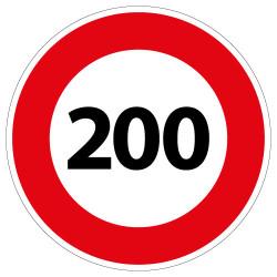 PANNEAU LIMITATION DE VITESSE 200KM/H (B14_200)