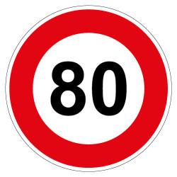 PANNEAU LIMITATION DE VITESSE 80KM/H (B14_80)