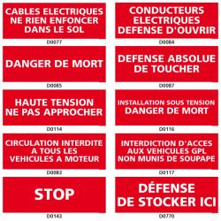 Panneau d'INTERDICTION des dangers electriques