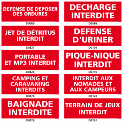 Panneau d'INTERDICTION (decharge, camping)