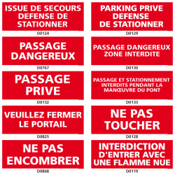 Panneaux d'INTERDICTION (stationnement, passage)