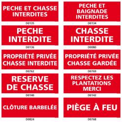 Panneau Signalisation d'INTERDICTION (chasse, peche)