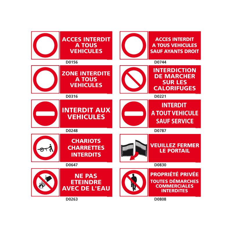 Panneaux d'INTERDICTION special vehicules