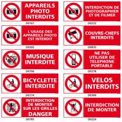 Panneau d'INTERDICTION (photo, musique, velo)