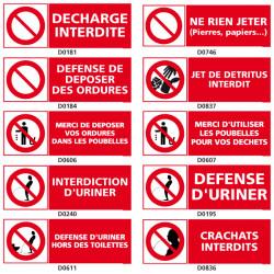 Panneaux d'interdiction DECHARGE et TOILETTES