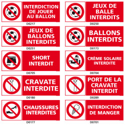 Panneau d'INTERDICTION (ballon, short, manger)