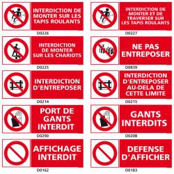 Panneau d'INTERDCITION (tapis roulants, entreposer)