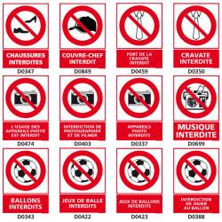 Panneau d'INTERDICTION (chaussures, appareil photo, ballon)