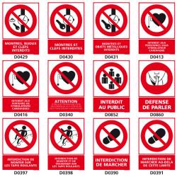 Panneaux d'INTERDICTION (bijoux, public, tapis roulants)