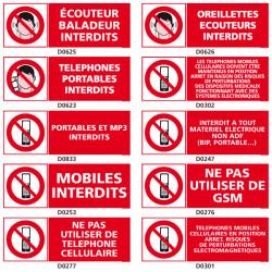 Panneaux d'INTERDICTION de telephoner