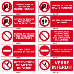 Panneaux d'INTERDICTION (electrique, danger, verre)