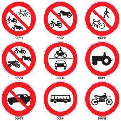 Panneau d'INTERDICTION Routiere vehicules-pietons