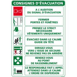 Panneau securite CONSIGNES D'EVACUATION (A0318)