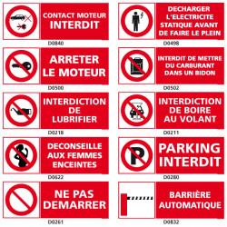 Panneau d'INTERDICTION pour station essence