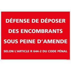 Panneau Defense de deposer des encombrants sous peine d'amende (D0977)
