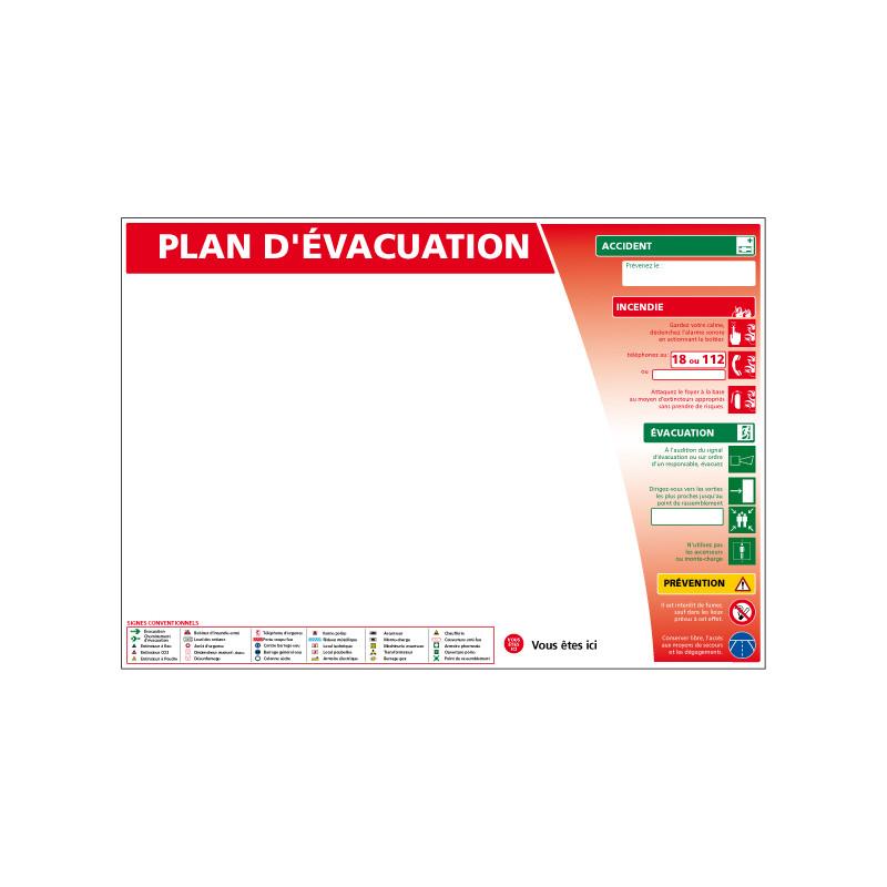 PANNEAU CONSIGNE DE SECURITE - PLAN D'EVACUATION (A0374)