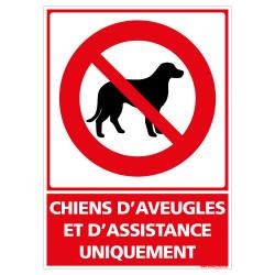 PANNEAU CHIENS D'AVEUGLES ET D'ASSISTANCE UNIQUEMENT (D1225)