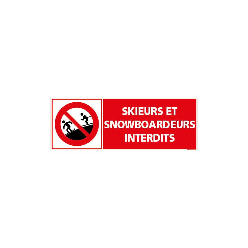 PANNEAU INTERDIT AUX SKIEURS ET SNOWBOARDEURS (D1303)